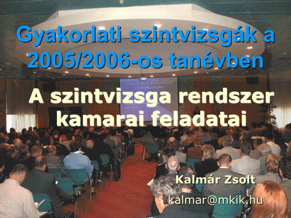 Gyakorlati szintvizsgák a 2005/2006-os tanévben A szintvizsga rendszer kamarai feladatai Kalmár Zsolt kalmar@mkik.hu