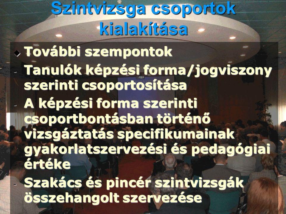 Szintvizsga csoportok kialakítása  További szempontok - Tanulók képzési forma/jogviszony szerinti csoportosítása - A képzési forma szerinti csoportbo
