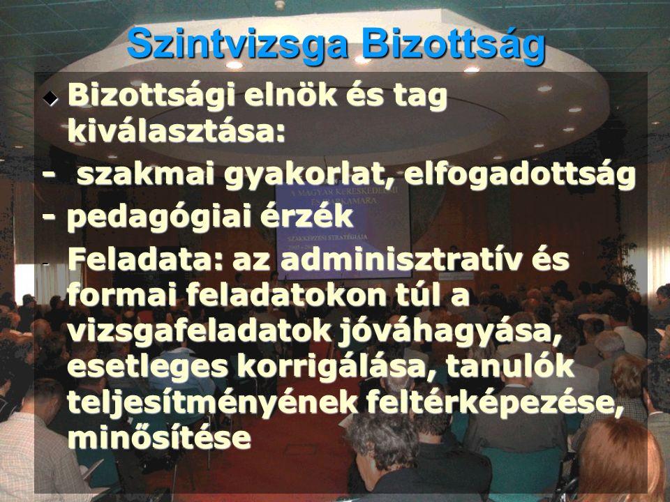Szintvizsga Bizottság  Bizottsági elnök és tag kiválasztása: - szakmai gyakorlat, elfogadottság - pedagógiai érzék - Feladata: az adminisztratív és f