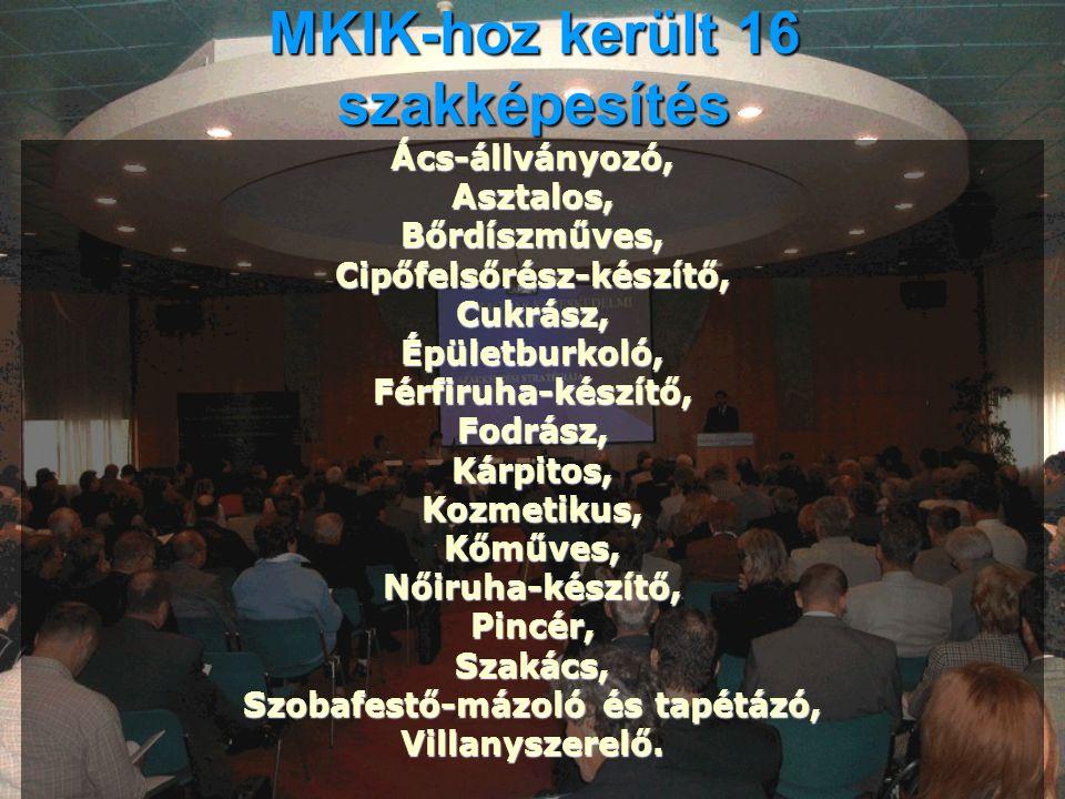 MKIK-hoz került 16 szakképesítés Ács-állványozó,Asztalos,Bőrdíszműves,Cipőfelsőrész-készítő,Cukrász,Épületburkoló,Férfiruha-készítő,Fodrász,Kárpitos,K