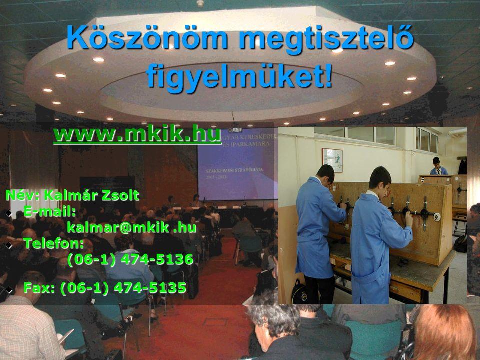 Köszönöm megtisztelő figyelmüket! www.mkik.hu Név: Kalmár Zsolt  E-mail: kalmar@mkik.hu kalmar@mkik.hu  Telefon: (06-1) 474-5136 (06-1) 474-5136  F