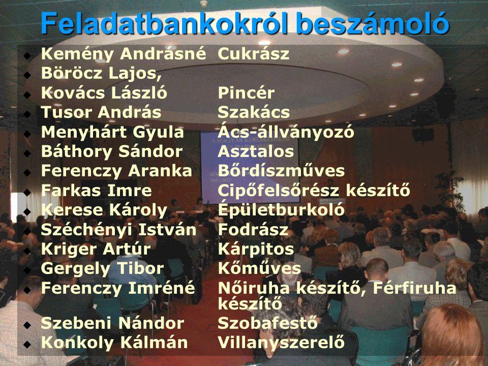 Feladatbankokról beszámoló   Kemény AndrásnéCukrász   Böröcz Lajos,   Kovács LászlóPincér   Tusor AndrásSzakács   Menyhárt GyulaÁcs-állványo