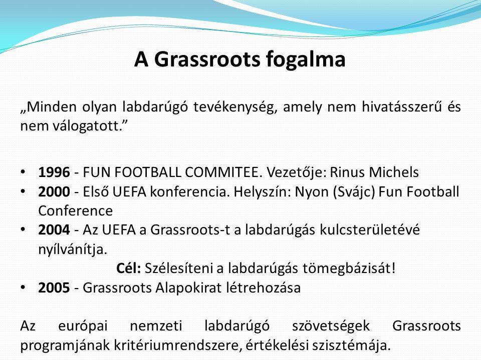 """A Grassroots fogalma """"Minden olyan labdarúgó tevékenység, amely nem hivatásszerű és nem válogatott."""" 1996 - FUN FOOTBALL COMMITEE. Vezetője: Rinus Mic"""