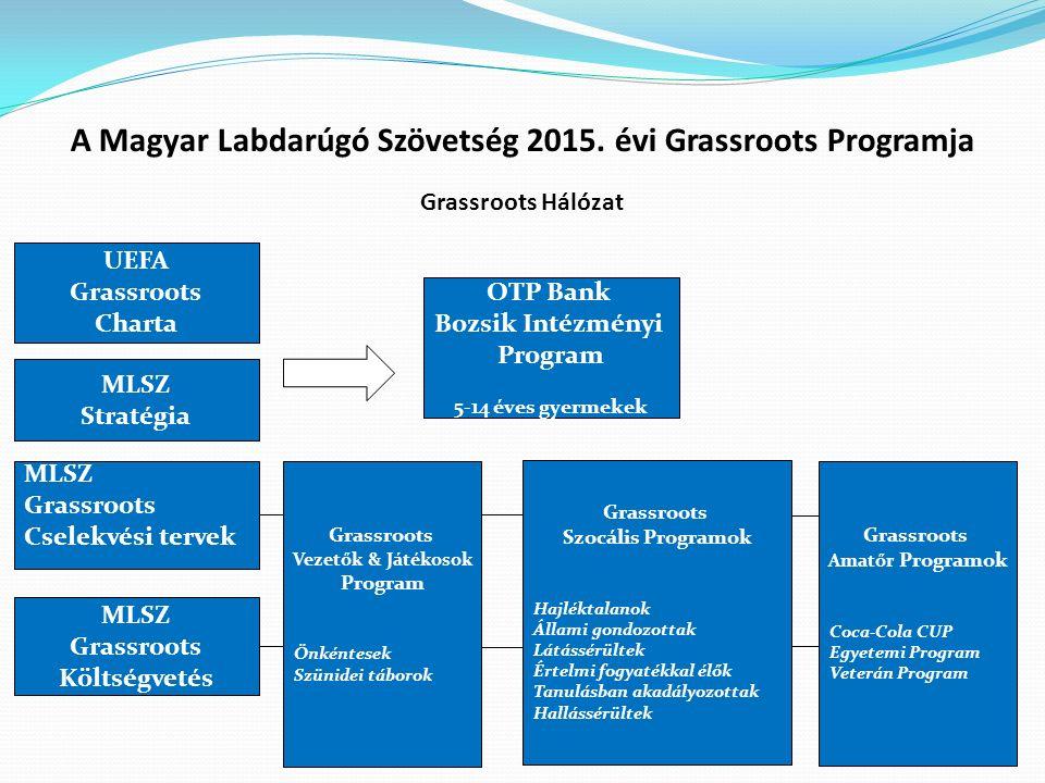 Grassroots Hálózat UEFA Grassroots Charta MLSZ Stratégia MLSZ Grassroots Cselekvési tervek MLSZ Grassroots Költségvetés OTP Bank Bozsik Intézményi Pro