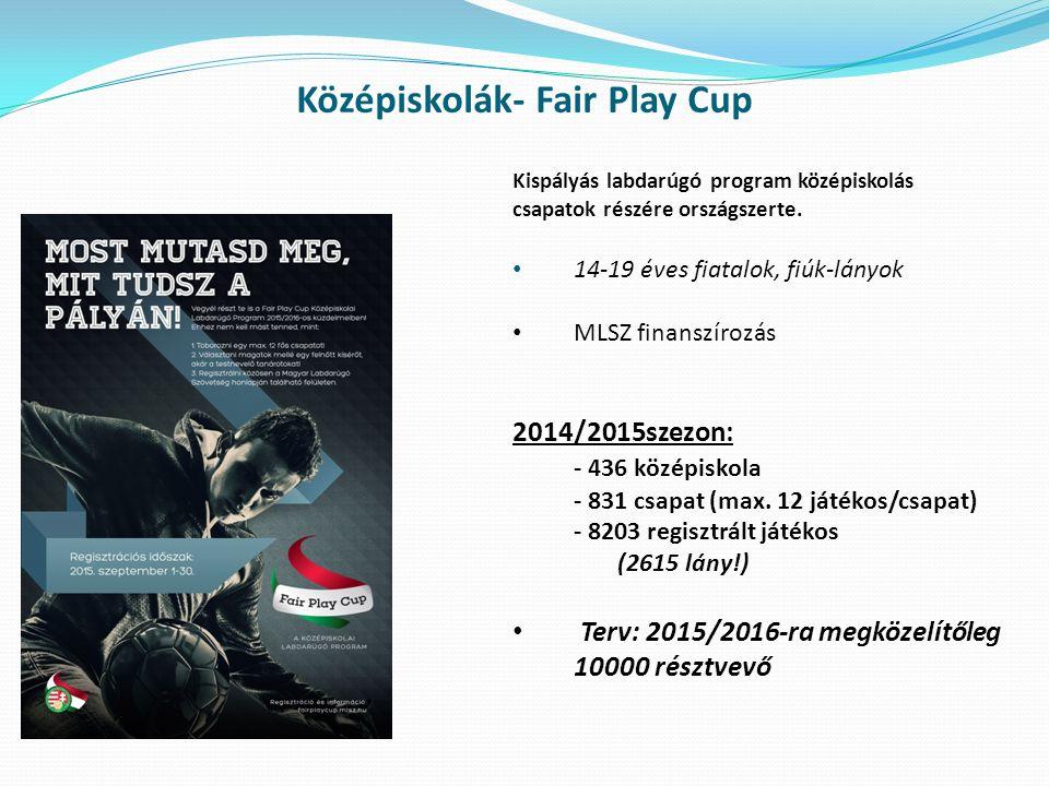 Középiskolák- Fair Play Cup Kispályás labdarúgó program középiskolás csapatok részére országszerte. 14-19 éves fiatalok, fiúk-lányok MLSZ finanszírozá