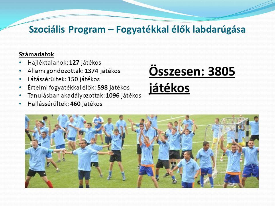 Szociális Program – Fogyatékkal élők labdarúgása Számadatok Hajléktalanok: 127 játékos Állami gondozottak: 1374 játékos Látássérültek: 150 játékos Ért