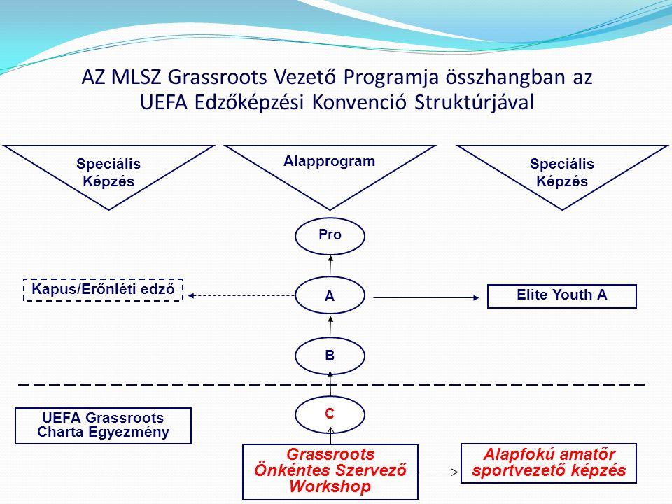 Pro A B C Speciális Képzés Alapprogram Speciális Képzés Elite Youth A Kapus/Erőnléti edző AZ MLSZ Grassroots Vezető Programja összhangban az UEFA Edző