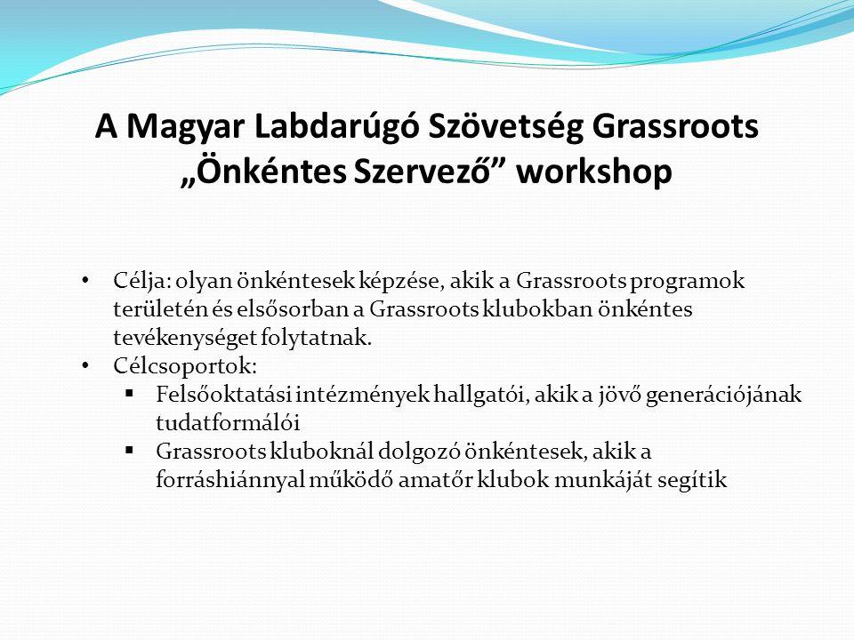 Célja: olyan önkéntesek képzése, akik a Grassroots programok területén és elsősorban a Grassroots klubokban önkéntes tevékenységet folytatnak. Célcsop