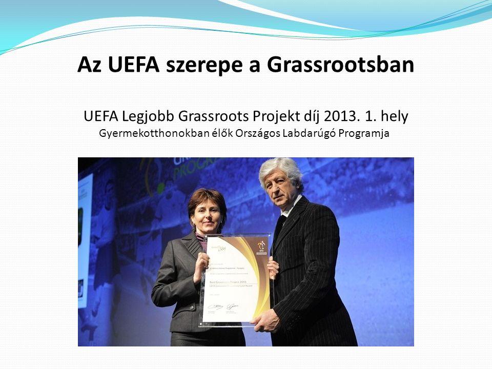 Az UEFA szerepe a Grassrootsban UEFA Legjobb Grassroots Projekt díj 2013. 1. hely Gyermekotthonokban élők Országos Labdarúgó Programja
