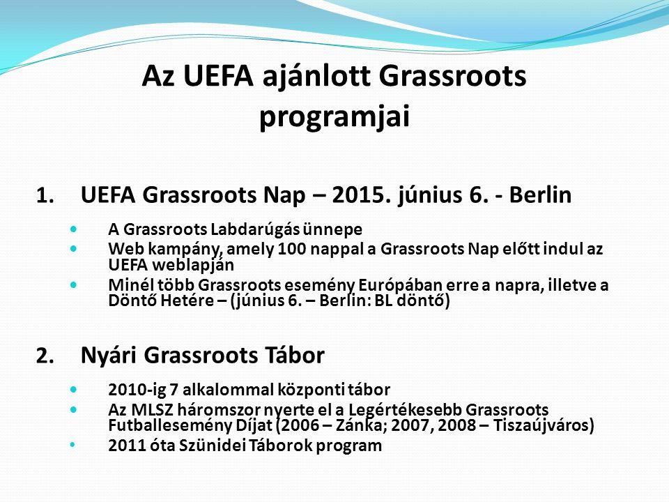 Az UEFA ajánlott Grassroots programjai 1. UEFA Grassroots Nap – 2015. június 6. - Berlin A Grassroots Labdarúgás ünnepe Web kampány, amely 100 nappal