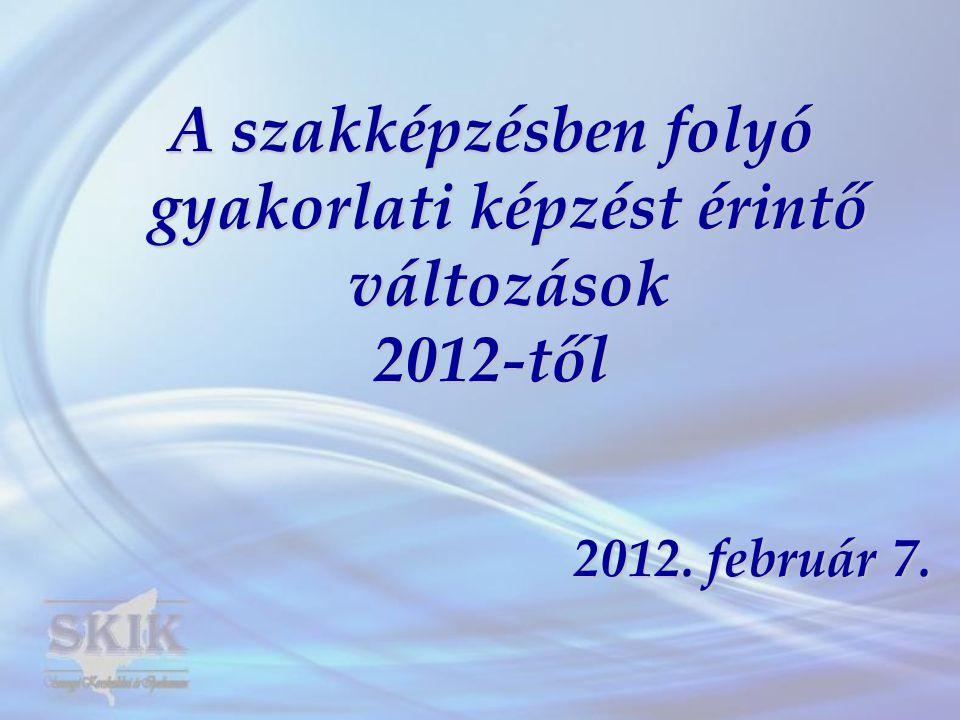 Jogszabály változások 2012.január 1-től Szakképzési tv.