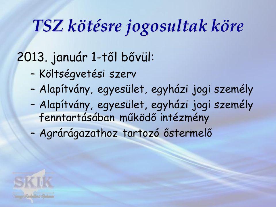 TSZ kötésre jogosultak köre 2013. január 1-től bővül: –Költségvetési szerv –Alapítvány, egyesület, egyházi jogi személy –Alapítvány, egyesület, egyház