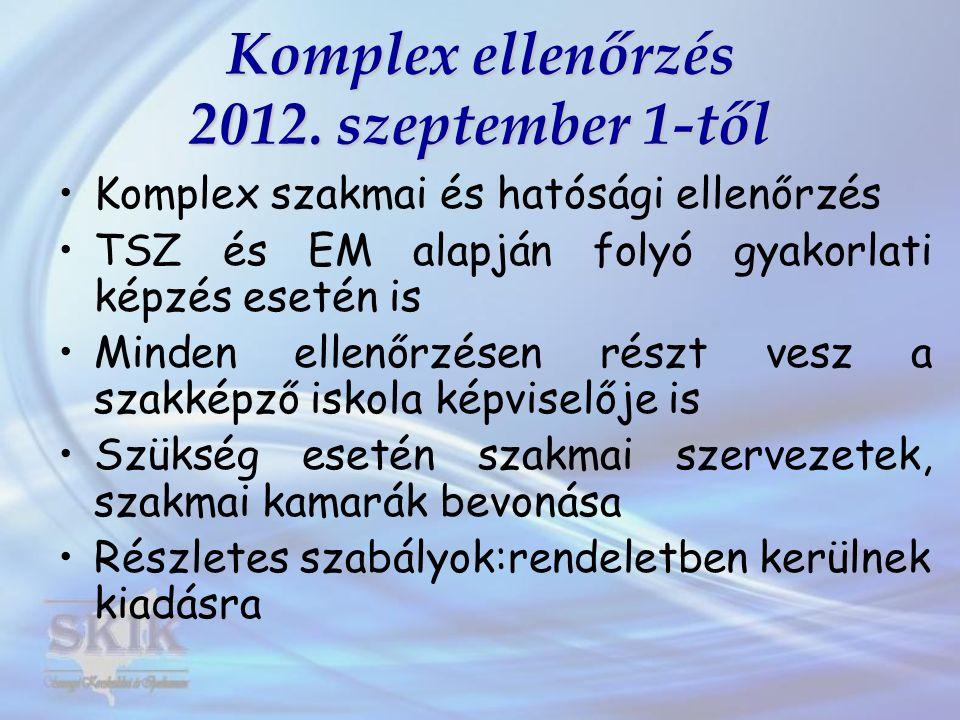 Komplex ellenőrzés 2012. szeptember 1-től Komplex szakmai és hatósági ellenőrzés TSZ és EM alapján folyó gyakorlati képzés esetén is Minden ellenőrzés