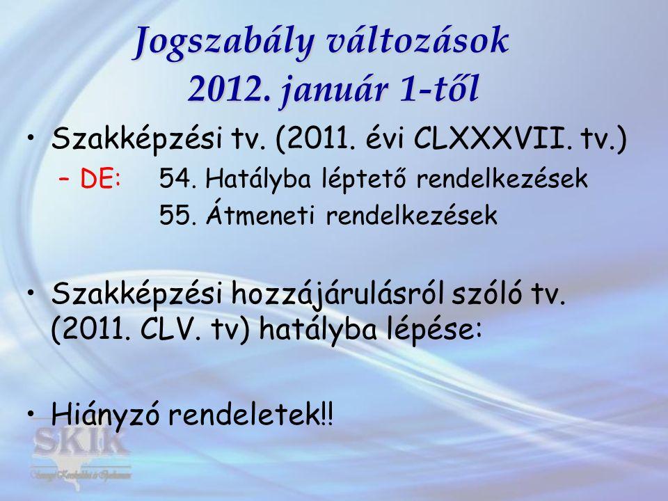 Jogszabály változások 2012. január 1-től Szakképzési tv. (2011. évi CLXXXVII. tv.) –DE: 54. Hatályba léptető rendelkezések 55. Átmeneti rendelkezések