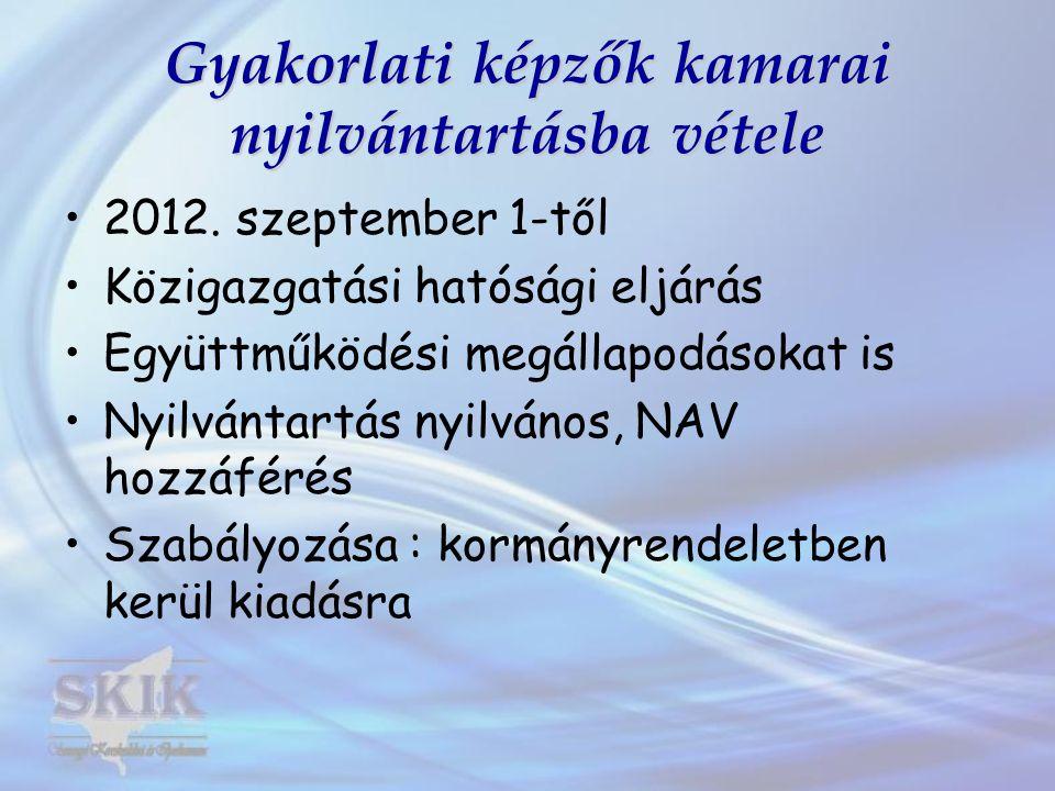 Gyakorlati képzők kamarai nyilvántartásba vétele 2012. szeptember 1-től Közigazgatási hatósági eljárás Együttműködési megállapodásokat is Nyilvántartá