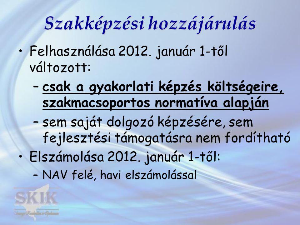Szakképzési hozzájárulás Felhasználása 2012. január 1-től változott: –csak a gyakorlati képzés költségeire, szakmacsoportos normatíva alapján –sem saj