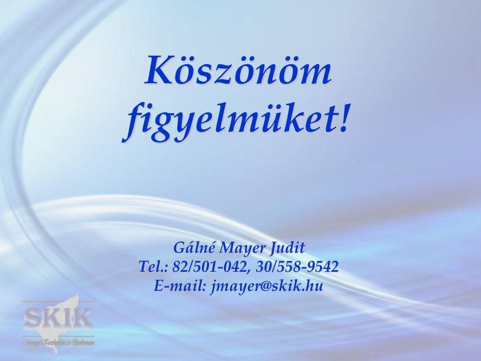 Köszönömfigyelmüket! Gálné Mayer Judit Tel.: 82/501-042, 30/558-9542 E-mail: jmayer@skik.hu