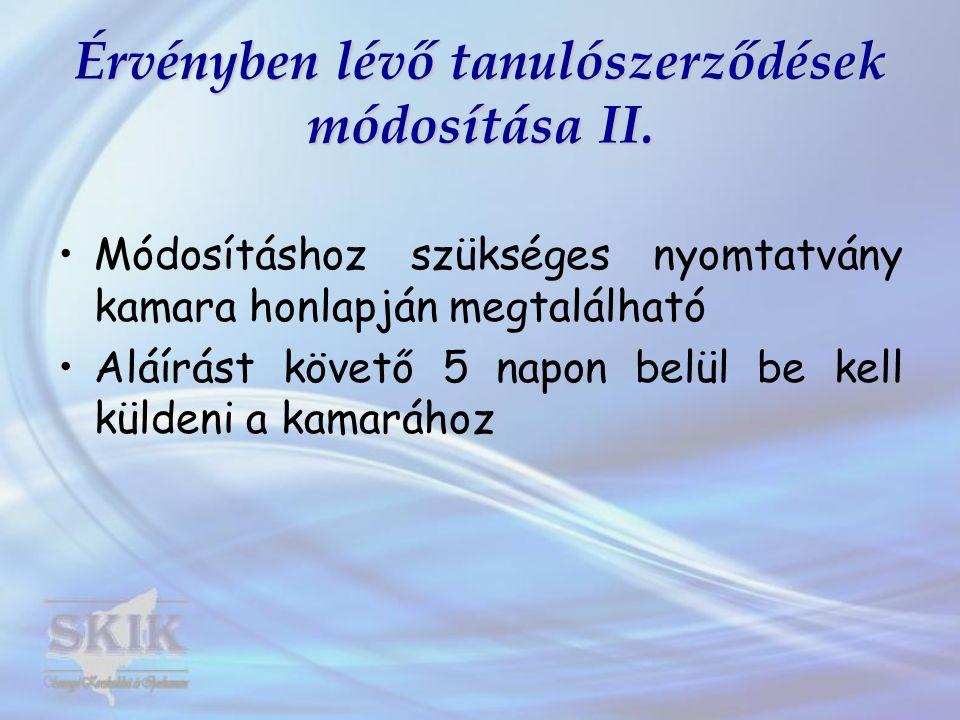 Új tanulószerződések 2012.