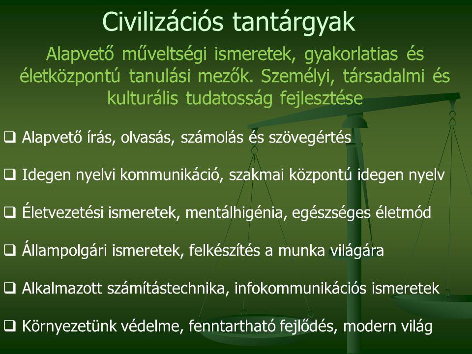Civilizációs tantárgyak Alapvető műveltségi ismeretek, gyakorlatias és életközpontú tanulási mezők.