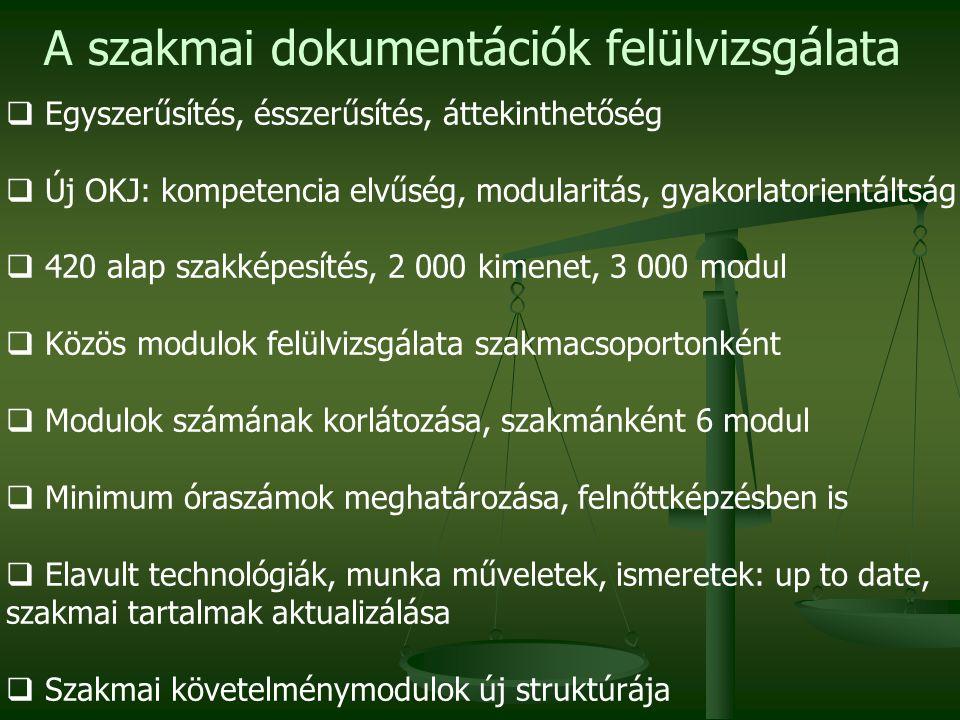 A szakmai dokumentációk felülvizsgálata  Egyszerűsítés, ésszerűsítés, áttekinthetőség  Új OKJ: kompetencia elvűség, modularitás, gyakorlatorientáltság  420 alap szakképesítés, 2 000 kimenet, 3 000 modul  Közös modulok felülvizsgálata szakmacsoportonként  Modulok számának korlátozása, szakmánként 6 modul  Minimum óraszámok meghatározása, felnőttképzésben is  Elavult technológiák, munka műveletek, ismeretek: up to date, szakmai tartalmak aktualizálása  Szakmai követelménymodulok új struktúrája
