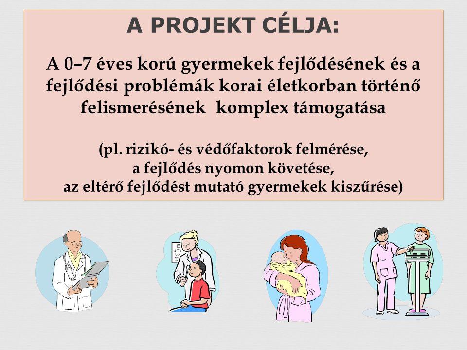 A PROJEKT CÉLJA: A 0–7 éves korú gyermekek fejlődésének és a fejlődési problémák korai életkorban történő felismerésének komplex támogatása (pl.