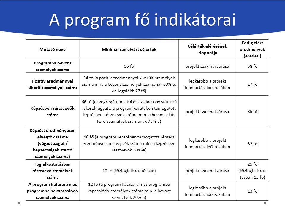 A program fő indikátorai Mutató neveMinimálisan elvárt célérték Célérték elérésének időpontja Eddig elért eredmények (eredeti) Programba bevont személ