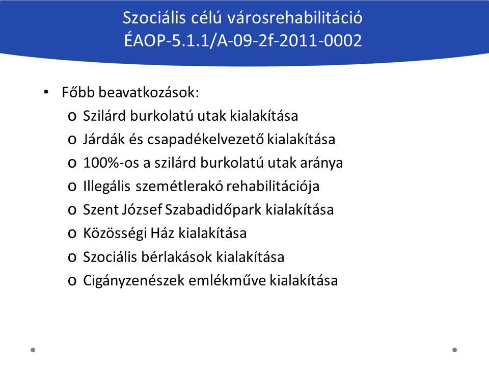Szociális célú városrehabilitáció ÉAOP-5.1.1/A-09-2f-2011-0002 Főbb beavatkozások: o Szilárd burkolatú utak kialakítása o Járdák és csapadékelvezető k