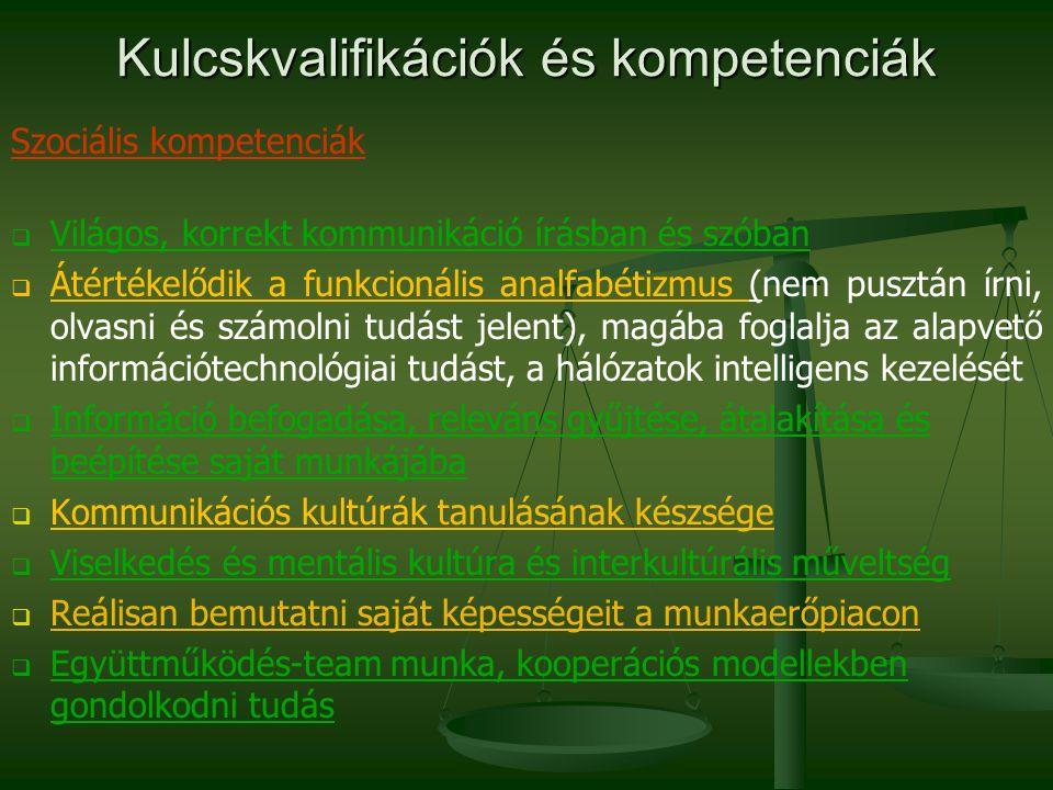 Kulcskvalifikációk és kompetenciák Szociális kompetenciák   Világos, korrekt kommunikáció írásban és szóban   Átértékelődik a funkcionális analfab