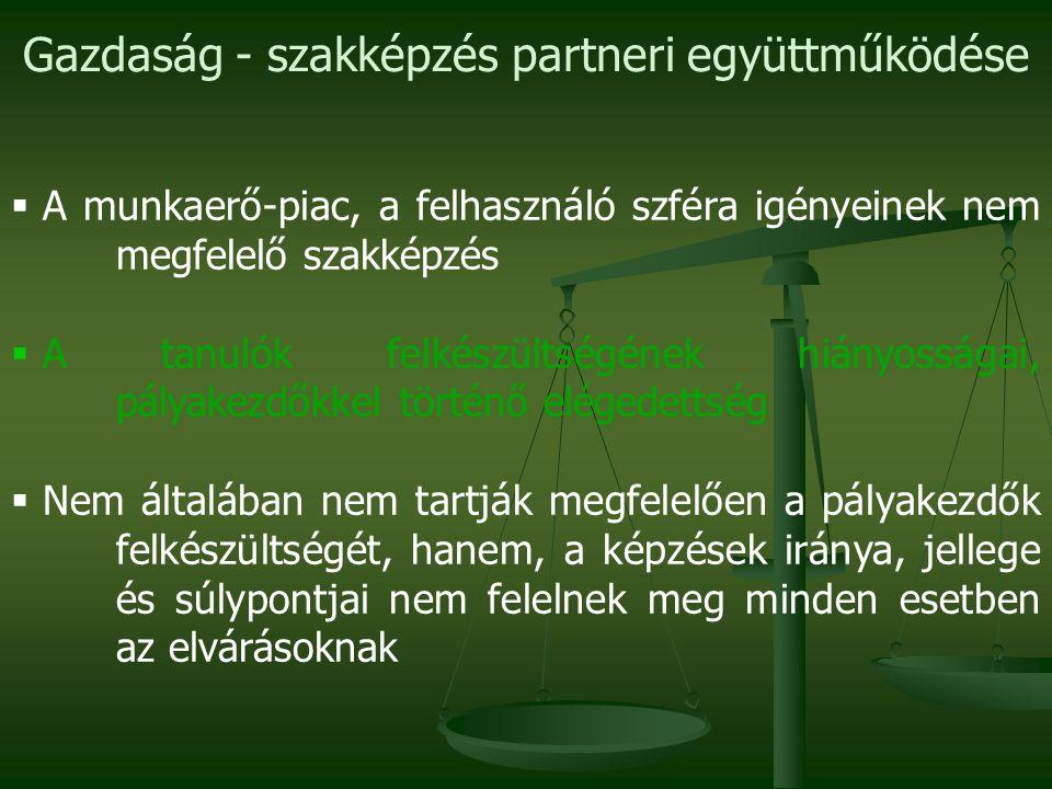 Gazdaság - szakképzés partneri együttműködése  A munkaerő-piac, a felhasználó szféra igényeinek nem megfelelő szakképzés  A tanulók felkészültségéne