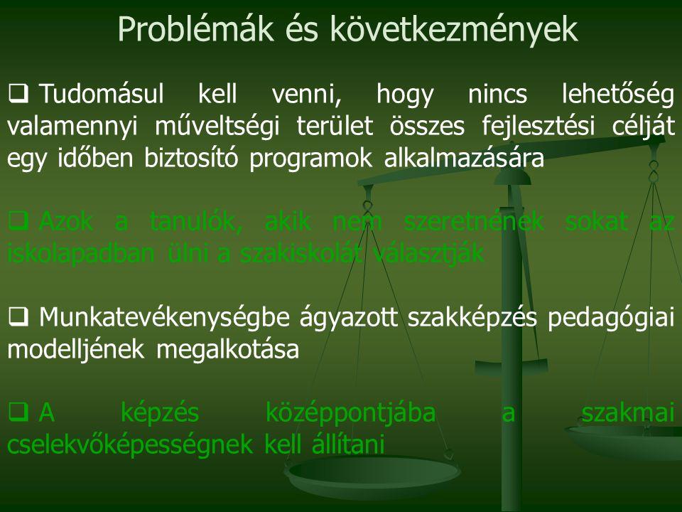 Problémák és következmények  Tudomásul kell venni, hogy nincs lehetőség valamennyi műveltségi terület összes fejlesztési célját egy időben biztosító