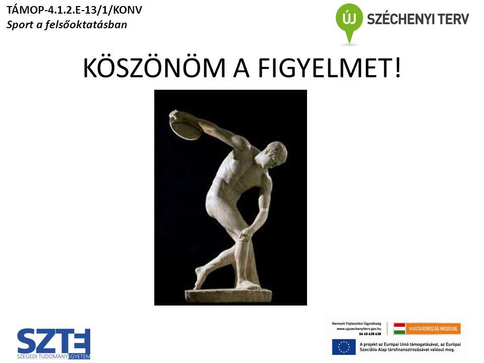 KÖSZÖNÖM A FIGYELMET! TÁMOP-4.1.2.E-13/1/KONV Sport a felsőoktatásban