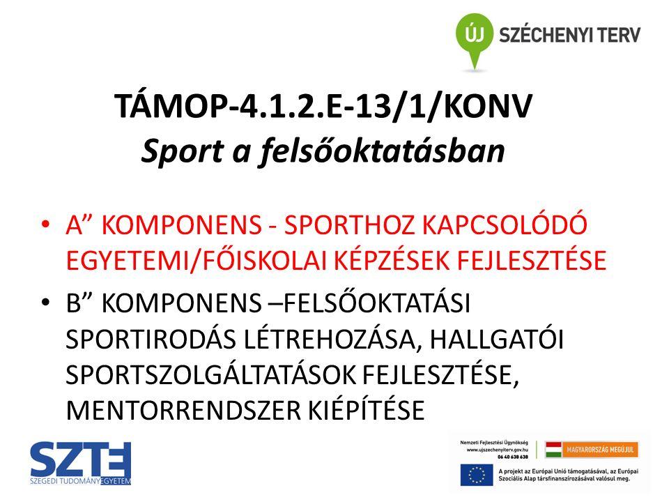 TÁMOP-4.1.2.E-13/1/KONV Sport a felsőoktatásban A KOMPONENS - SPORTHOZ KAPCSOLÓDÓ EGYETEMI/FŐISKOLAI KÉPZÉSEK FEJLESZTÉSE B KOMPONENS –FELSŐOKTATÁSI SPORTIRODÁS LÉTREHOZÁSA, HALLGATÓI SPORTSZOLGÁLTATÁSOK FEJLESZTÉSE, MENTORRENDSZER KIÉPÍTÉSE