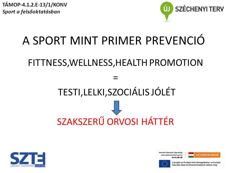 A SPORT MINT PRIMER PREVENCIÓ FITTNESS,WELLNESS,HEALTH PROMOTION = TESTI,LELKI,SZOCIÁLIS JÓLÉT SZAKSZERŰ ORVOSI HÁTTÉR TÁMOP-4.1.2.E-13/1/KONV Sport a felsőoktatásban