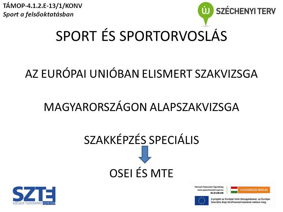 SPORT ÉS SPORTORVOSLÁS AZ EURÓPAI UNIÓBAN ELISMERT SZAKVIZSGA MAGYARORSZÁGON ALAPSZAKVIZSGA SZAKKÉPZÉS SPECIÁLIS OSEI ÉS MTE TÁMOP-4.1.2.E-13/1/KONV Sport a felsőoktatásban