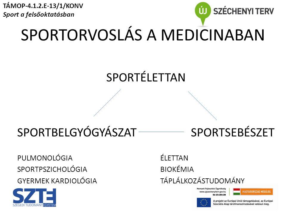 SPORTORVOSLÁS A MEDICINÁBAN SPORTÉLETTAN SPORTBELGYÓGYÁSZAT SPORTSEBÉSZET PULMONOLÓGIA ÉLETTAN SPORTPSZICHOLÓGIABIOKÉMIA GYERMEK KARDIOLÓGIATÁPLÁLKOZÁSTUDOMÁNY TÁMOP-4.1.2.E-13/1/KONV Sport a felsőoktatásban