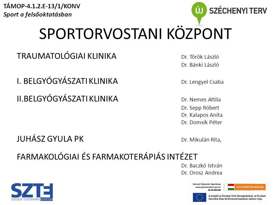 SPORTORVOSTANI KÖZPONT TRAUMATOLÓGIAI KLINIKA Dr. Török László Dr.