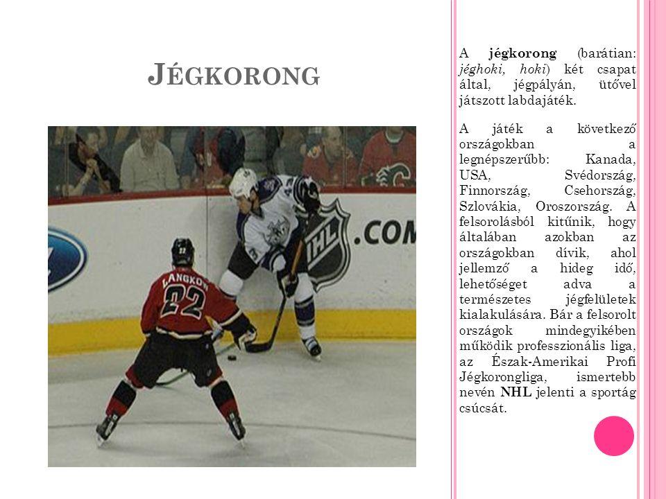 J ÉGKORONG A jégkorong (barátian: jéghoki, hoki ) két csapat által, jégpályán, ütővel játszott labdajáték.