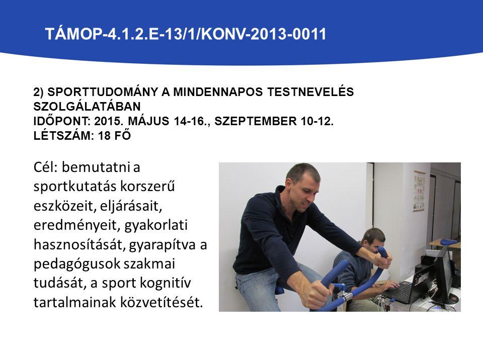 TÁMOP-4.1.2.E-13/1/KONV-2013-0011 2) SPORTTUDOMÁNY A MINDENNAPOS TESTNEVELÉS SZOLGÁLATÁBAN IDŐPONT: 2015.