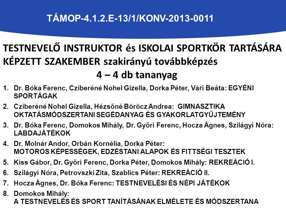 TESTNEVELŐ INSTRUKTOR és ISKOLAI SPORTKÖR TARTÁSÁRA KÉPZETT SZAKEMBER szakirányú továbbképzés 4 – 4 db tananyag 1.Dr. Bóka Ferenc, Cziberéné Nohel Giz