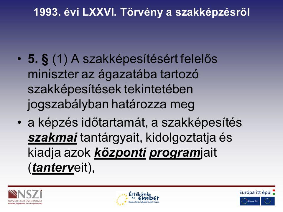 1993. évi LXXVI. Törvény a szakképzésről 5.