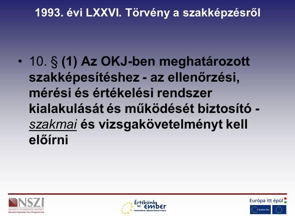 1993. évi LXXVI. Törvény a szakképzésről 10.