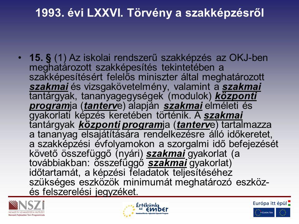 1993. évi LXXVI. Törvény a szakképzésről 15.