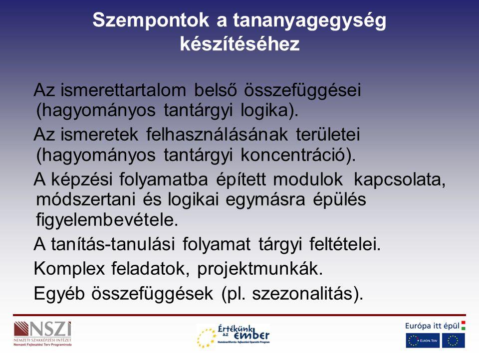 Szempontok a tananyagegység készítéséhez Az ismerettartalom belső összefüggései (hagyományos tantárgyi logika).