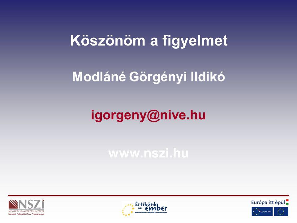 Köszönöm a figyelmet Modláné Görgényi Ildikó igorgeny@nive.hu www.nszi.hu