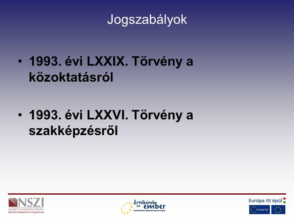 Jogszabályok 1993. évi LXXIX. Törvény a közoktatásról 1993. évi LXXVI. Törvény a szakképzésről