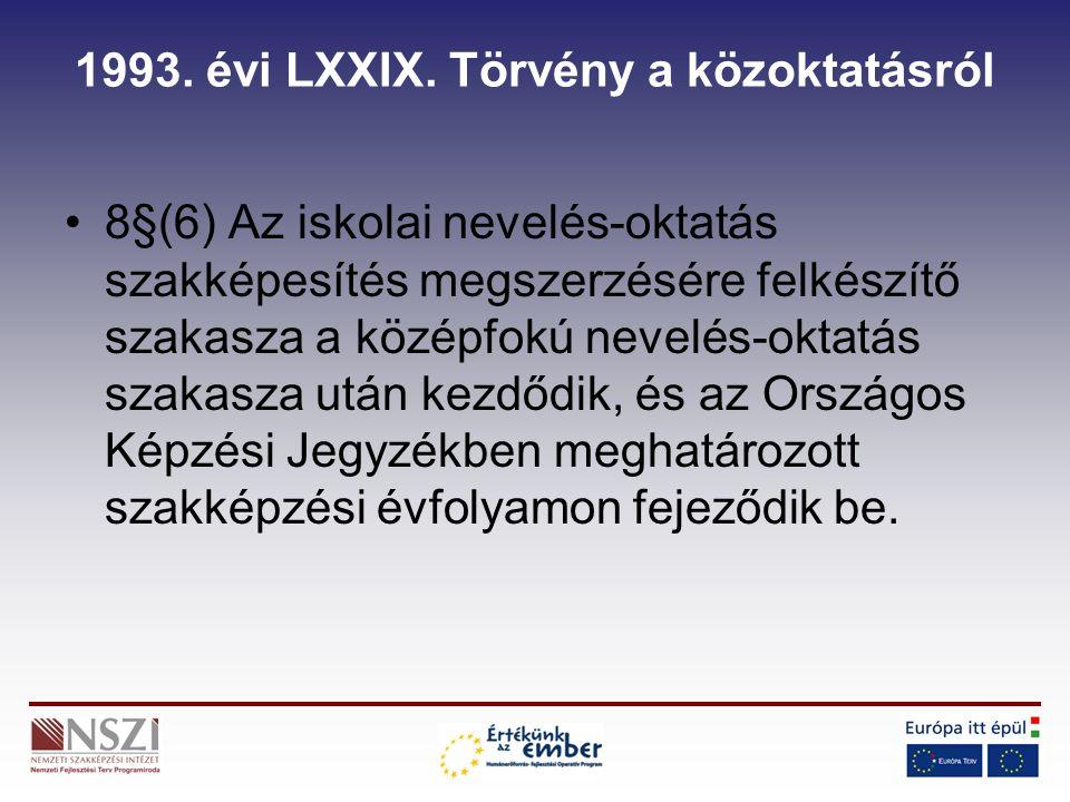1993.évi LXXIX. Törvény a közoktatásról 8/A.