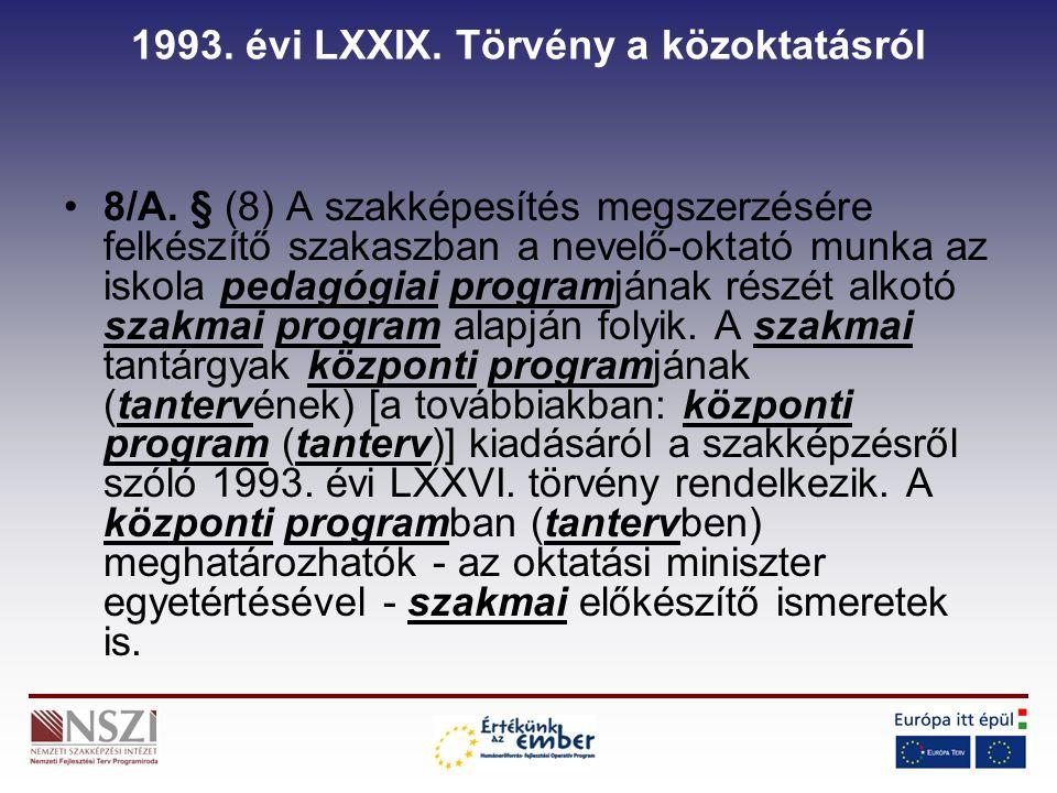 1993. évi LXXIX. Törvény a közoktatásról 8/A.
