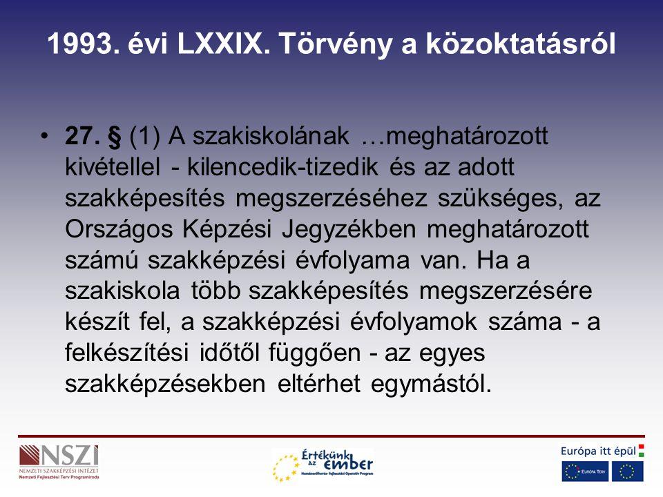 1993. évi LXXIX. Törvény a közoktatásról 27.