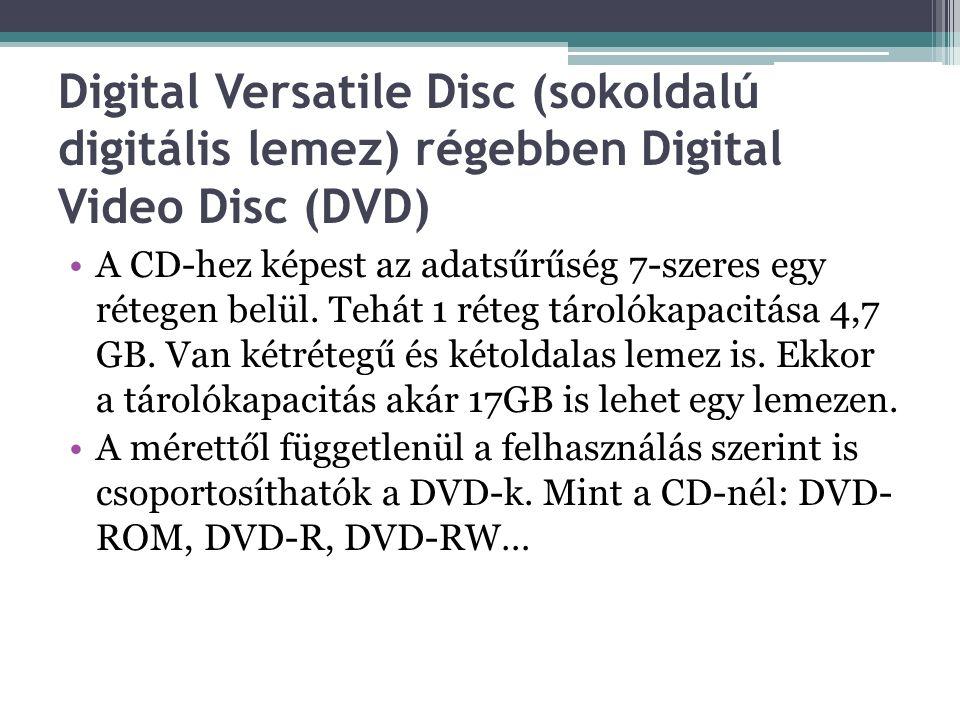 Digital Versatile Disc (sokoldalú digitális lemez) régebben Digital Video Disc (DVD) A CD-hez képest az adatsűrűség 7-szeres egy rétegen belül.