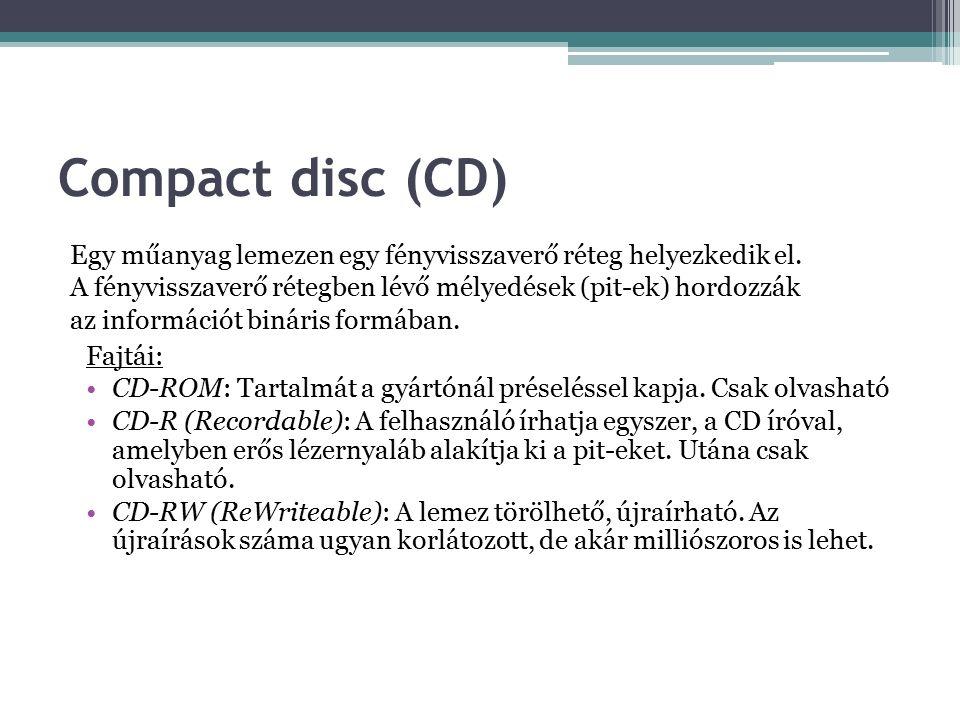 Compact disc (CD) Egy műanyag lemezen egy fényvisszaverő réteg helyezkedik el.